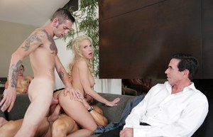 Blonde MILF Nadia North is blindfolded before the gangbang begins