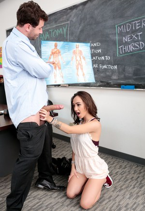 College girl Lily Jordan seduces and fucks her instructor at his desk in class