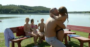 Bikini clad teen girlfriends get all horned up in lesbian picnic games