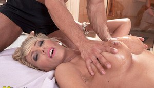 Hot mature lady Lana Vegas gets stripped before pleasing two younger studs
