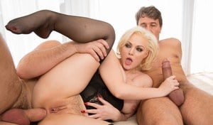 Hot blonde Jenna Ivory in stockings and garter getting a double penetration