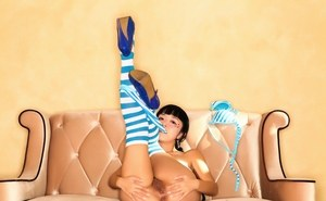 Little Asian teen cutie in bikini and socks spreading her pussy wide open