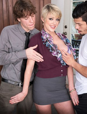 Teacher Dee Williams bares firm big tits seducing students in office threesome