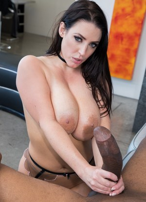 Sultry siren Angela White frees her massive big tits sucks big black cock