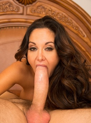 Hot MILF Ava Addams squats by the pool naked  chows down on huge big cock