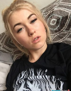Beautiful blonde slut Misha Cross takes a selfie fully clothed and stark naked