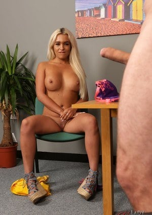 Blonde amateur Lillie Mae undresses in front of a man with a hard on