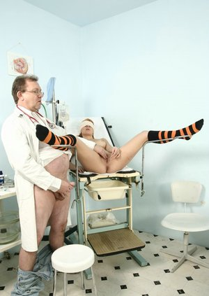 Young redhead in knee socks is tricked into giving Gyno doctor a blowjob