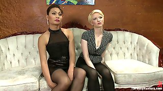 The Shop Girls Girl Girl Action In The Store Room With A Surprise Cock