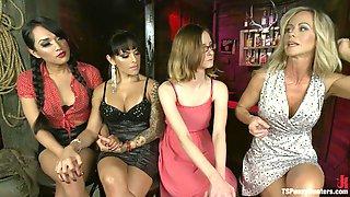 Jessica Fox And TS Foxxy Double Team MILF Sensation Simone Sonay