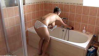 Blonde In Knickers Plays With Bubbles In Down Blouse Video