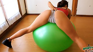 Round Ass Teen Working Out With Fitball Plus Cameltoe & Tits