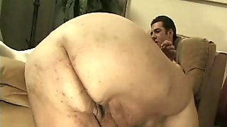 group of men have fun with a fat girl and her chubby friend