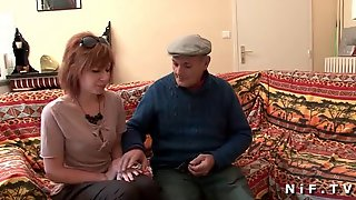 Redhead Slut Anal Fucked In 3some With GrandPa