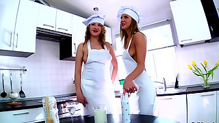 Randy Lesbians Enjoy Food Insertions, Pussy Licking And Rimjob In Kitchen