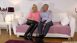 Pierced Muff Of A Blond Slut In A Tie Gets Rammed Hard And Fast