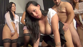 Group Of Furious Lesbians Invites One Horny Dude To Arrange Dirty Sex Fun