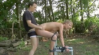 He Abuses And Fucks His Blonde Slave On The Farm