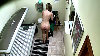 Czech Blondie Got Her Hairy Pussy Caught On Hidden Cam In The Solarium