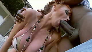 Nasty Mommy With Red Hair And Huge Tits Pleases Horny Black Guy