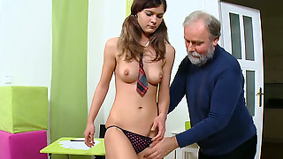 Pretty Teen In College Uniform Gets Her Juicy Slit Poked By An Aged Man