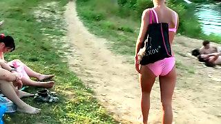 Sextractive Blonde Hottie Jennifer Walks With Her Friend Wearing Bikini