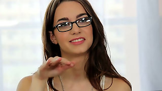 Alluring Brunette In Glasses Tali Lets The Interviewer Enjoy Her Pussy