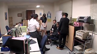 Striking Cowgirl Swallows Cum After Being Gangbanged In The Office