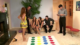 Group Sex Among Hot Babes And Guys While A Game Of Twister
