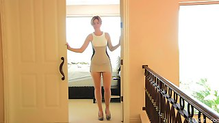 Horny Hottie Shows Her Shaved Pussy While Wearing A Dress
