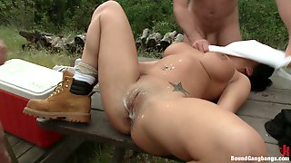 Camping Turns To Crazy Outdoors Gangbang For Brunette Girl