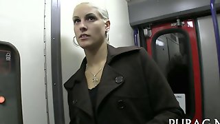 Blonde Hottie Spotted On The Train And Fucked For Cash
