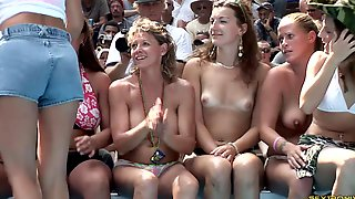 Angelic Babes Flaunt Their Sexy Figures In An Outdoors Bikini Contest