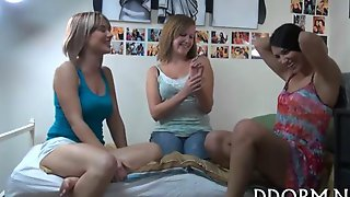 Three College Chicks Fucking At A Dorm Party