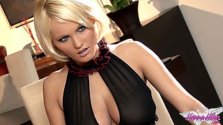Hanna Hilton Massages Her Impressive Tits And Toys Her Shaved Pussy