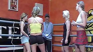 Handsome Chap Wrestles Three Sexy Babes In The Ring