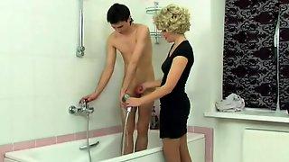 Blonde Horny Mature Mom Seducing A Hot Young Boy