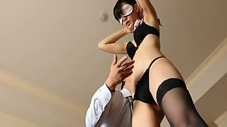 Stewardess Strips To Her Lingerie For A Hot Fuck In A Hotel Room