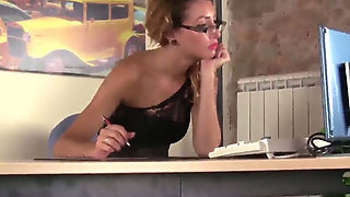Young Secretary In Sexy Stockings Takes Of Her Shoes And Plays With Feet