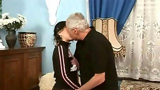 Grandpa Fucks Sexy Young Brunette