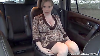 Pregnant With Dildo In A Car