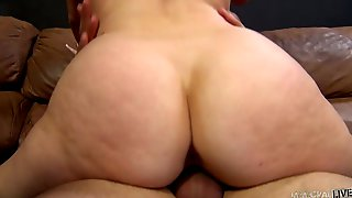 Busty Brunette Chick Noelle Easton Rids Hard Dick On The Couch