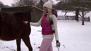 A Naughty Farm Girl Does Her Chores Then Works Her Pussy