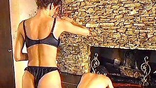Brunette Dominatrx Enjoying Her Slave