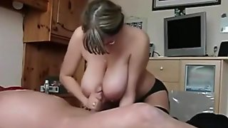 Nerdy Milf With Sex Lingerie Pleases Her Man With A Blowjob, Handjob And Titjob.