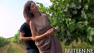 Tall Busty Beauty Get Seduced In A Vineyard By Her Boyfriend