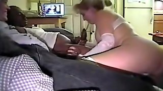 Ponytailed blonde cuckold milf with big boobs blows her black stud's cock, while her husband watches next to him on the 3 years