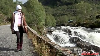 Lonely Girl From Norway Masturbates Outdoor