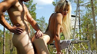 Charming Teen Babe Gets Her Tight Pussy Fucked In The Forest