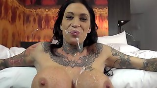 Big Tit Brunette,tattoos Hard Fucked With Anal And Facial